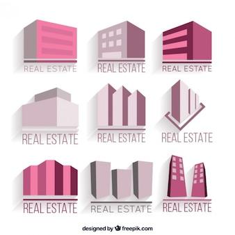 Logotipos propriedade real rosa no design plano