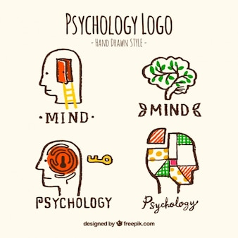 Logotipos psicologia desenhados à mão