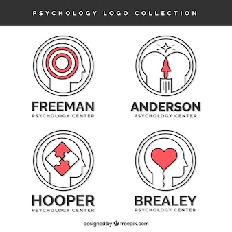 Logotipos psicologia redondas com detalhes vermelhos