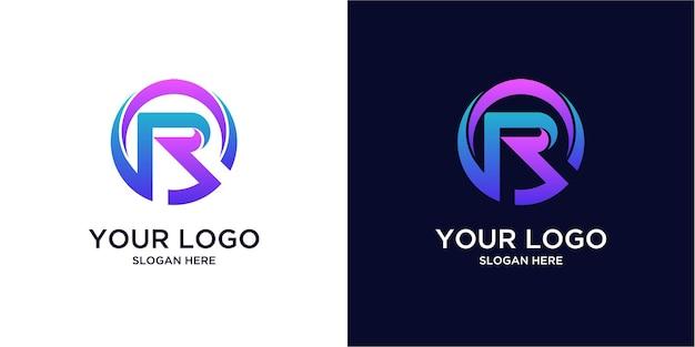 Logotipos r coloridos em gradiente