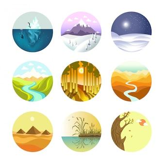 Logotipos redondos de paisagem definida no cartaz de vetor branco