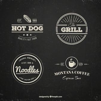 Logotipos restaurante embalar no estilo do vintage