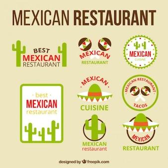 Logotipos restaurante mexicano com objetos típicos