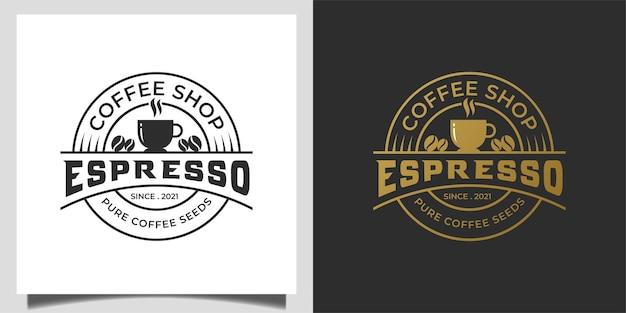 Logotipos retro vintage e design clássico de emblema de emblema de cafeteria