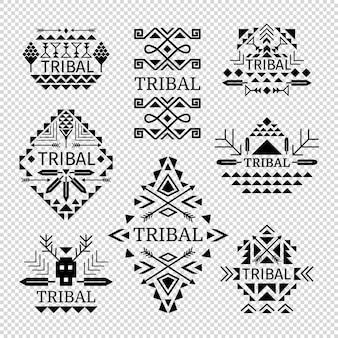 Logotipos tribais definida na cor preta, ilustração vetorial