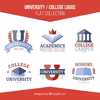 Logotipos universitários definido no design plano