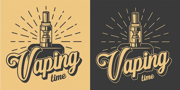 Logotipos vaping vintage com inscrições e esqueleto mão segurando vape na ilustração estilo monocromático