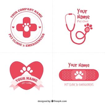 Logotipos veterinário vermelhas bonitos