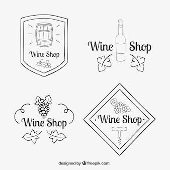 Logotipos vinho esboços definir