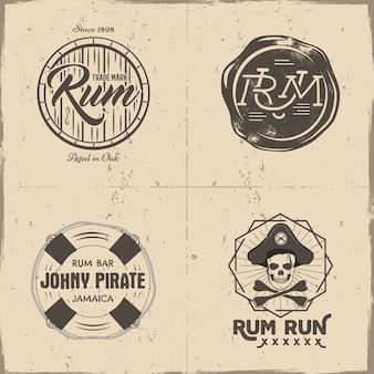 Logotipos vintage com barril de rum, cabeça de esqueleto de pirata, ossos e texto
