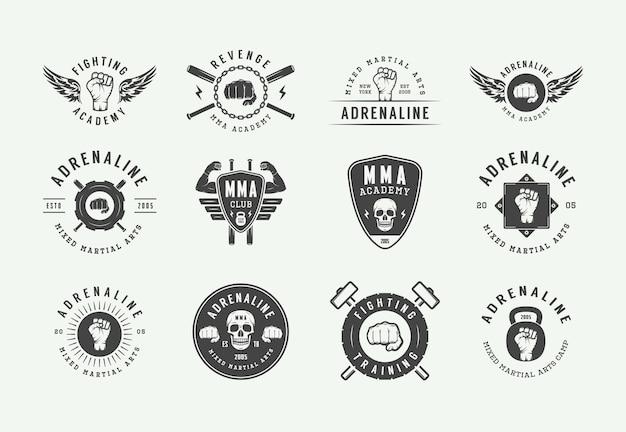 Logotipos vintage de artes marciais mistas ou clubes de luta