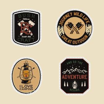 Logotipos vintage de remendos de acampamento, conjunto de emblemas de montanha