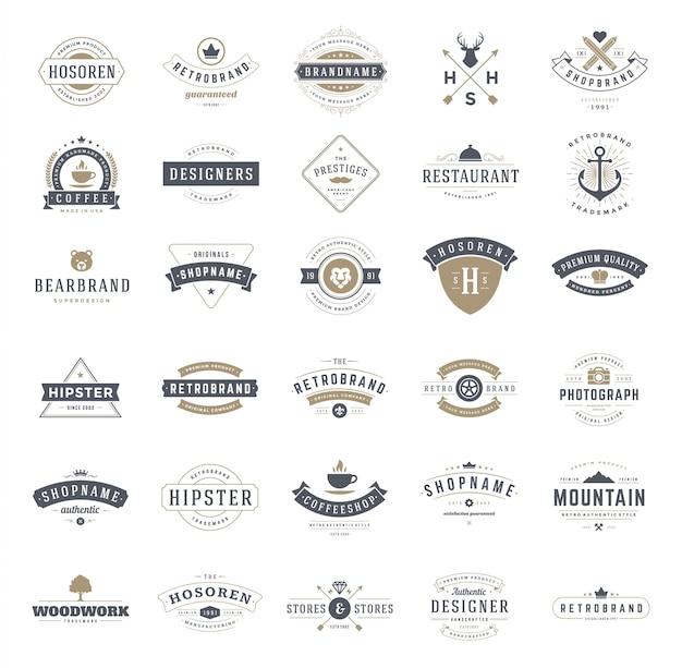 Logotipos vintage retrô ou conjunto de insígnias