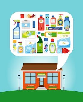 Loja com coleção de diferentes produtos químicos domésticos e materiais de limpeza