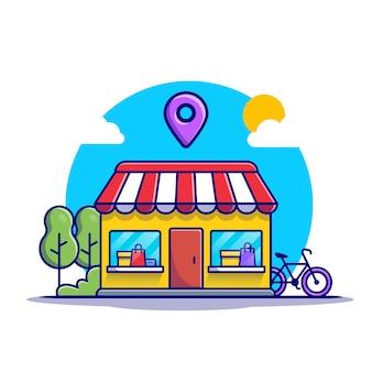 Loja com placa de localização