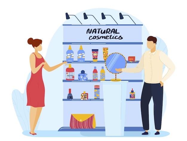 Loja com produto de beleza ilustração vetorial de cosméticos naturais personagem de mulher em loja de maquiagem homem plano vender cosméticos para cuidados com o corpo