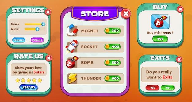 Loja, configurações, avalie-nos, menu de compra e saída pop-up com itens do jogo