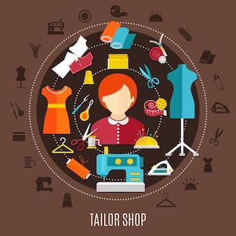 Loja de alfaiate e conceito de costura