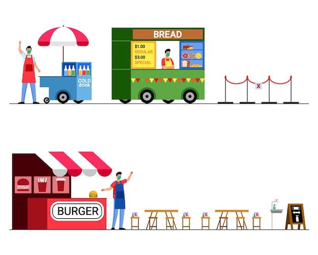 Loja de alimentos durante a era epidêmica