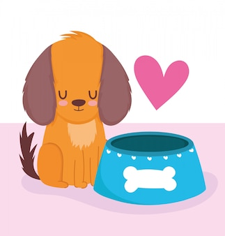 Loja de animais, cachorrinho fofo com tigela de comida animal desenho doméstico