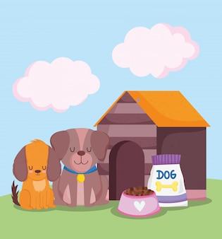 Loja de animais, cachorros fofos sentados perto da casa e desenho de animal doméstico com comida