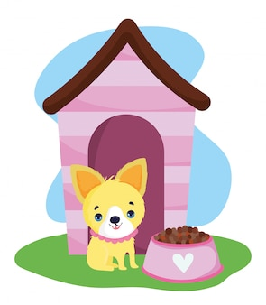 Loja de animais, casinha de cachorrinho e tigela com comida animal doméstico desenho animado