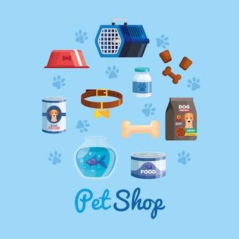 Loja de animais com conjunto de ícones para animais