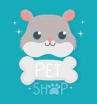 Loja de animais, comida de clínica veterinária de osso de roedor de hamster