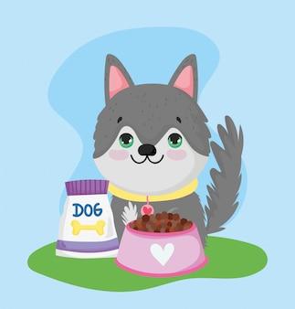 Loja de animais de estimação, cachorro com tigela de comida animal doméstico desenho animado