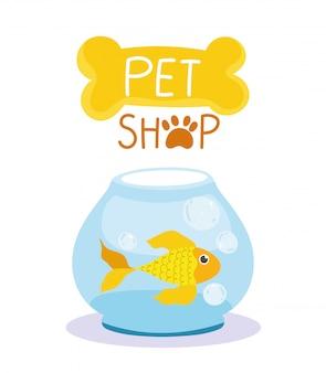 Loja de animais, desenho doméstico de peixe fofo em tigela de vidro