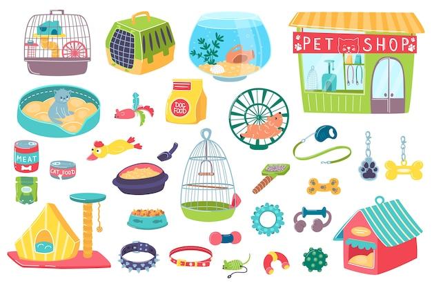Loja de animais domésticos com objetos de cuidados
