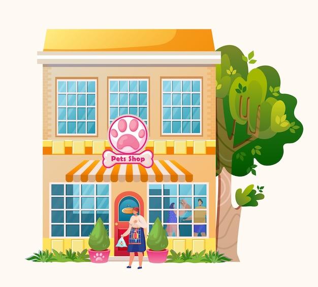 Loja de animais. edifício do mercado exterior. . personagem de mulher com animais de estimação. papagaio e peixe.