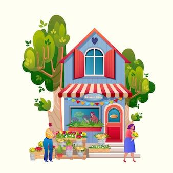 Loja de animais. edifício do mercado exterior. .