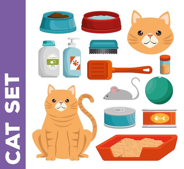Loja de animais gato conjunto de ícones
