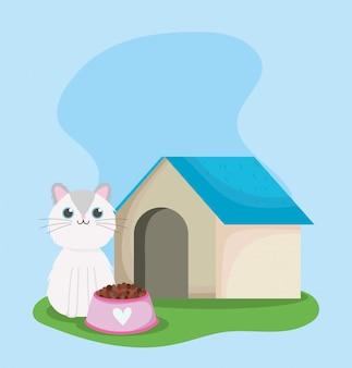 Loja de animais, gato fofo sentado com a casa e tigela de comida animal desenho doméstico