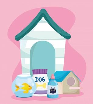 Loja de animais, peixes domésticos em remédios de tigela de vidro e embalagem de alimentos animais domésticos desenhos animados