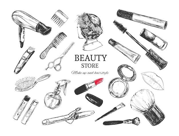 Loja de beleza com objetos de maquiador e cabeleireiro