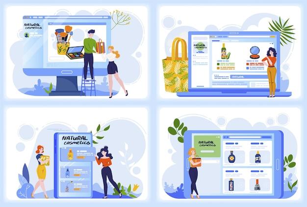 Loja de beleza on-line ilustração vetorial personagem mulher comprar cosmético natural na loja, maquiagem, design de produtos, computador, telefone, tela, set