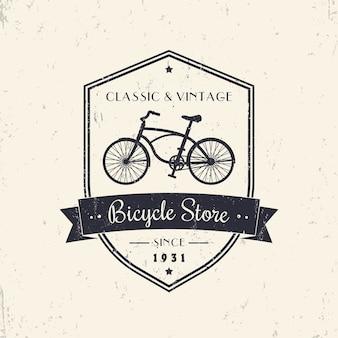 Loja de bicicletas, loja, design vintage grunge no escudo