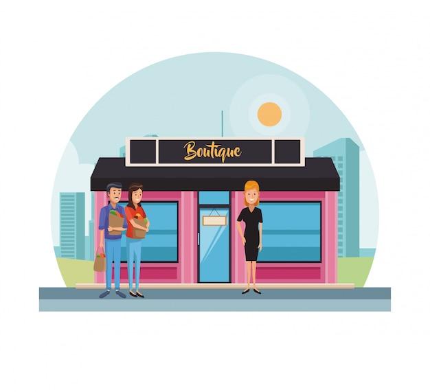 Loja de boutique na cidade