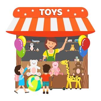 Loja de brinquedos, ilustração em vetor plana loja de presentes