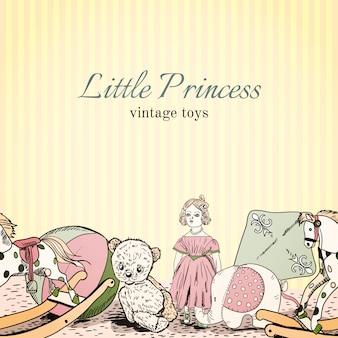 Loja de brinquedos vintage sem costura padrão