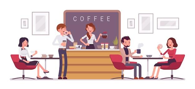Loja de café e pessoas relaxantes