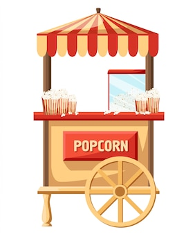 Loja de carnaval de carrinho de pipoca e carrinho de festival divertido. popcorn cartoon delicioso saboroso carro retrô. ilustração do mercado de lanches do vendedor do recipiente do milho doce. aplicativo para celular da página do site