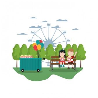 Loja de carros de carnaval e crianças com pipoca