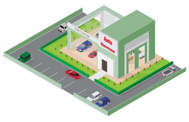 Loja de carros isométricos
