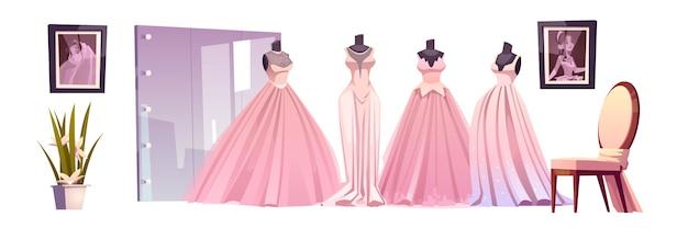 Loja de casamento com vestidos de noiva luxuosos, espelho grande e cadeira