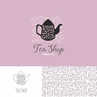 Loja de chá mão desenhada logotipo com padrão sem emenda