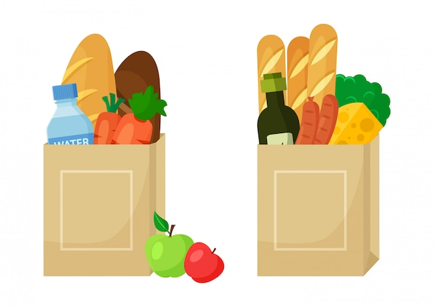 Loja de comida. pacote de papel com alimentos.
