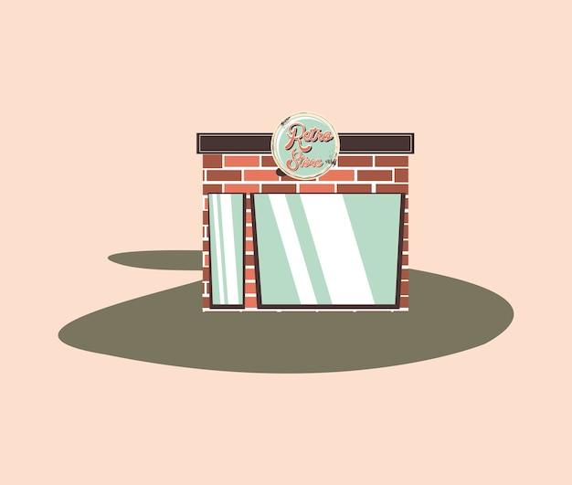 Loja de compras retrô, projeto vintage de tijolos de fachada